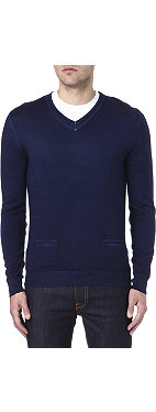 D SQUARED Elbow patch v-neck jumper