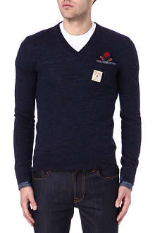 D SQUARED Denim detail v-neck jumper