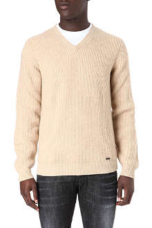 D SQUARED Ribbed v-neck jumper