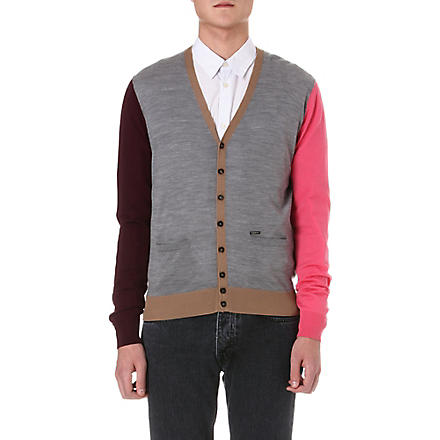 D SQUARED Multicoloured wool cardigan (Grey