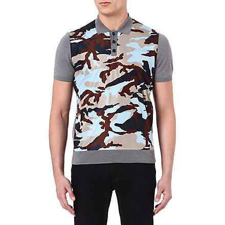 D SQUARED Camouflage knitted polo shirt (Grey