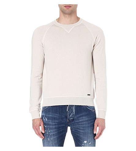 D SQUARED Crew-neck wool and cashmere-blend jumper (Beige