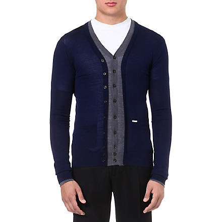 D SQUARED Contrast colour cardigan (Navy/grey
