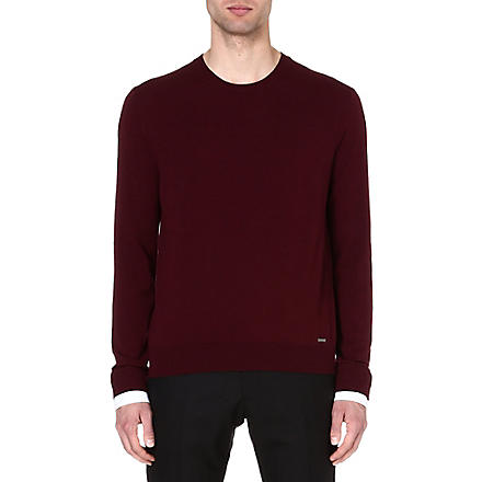 D SQUARED Shirt-cuff knitted jumper (Bordeaux