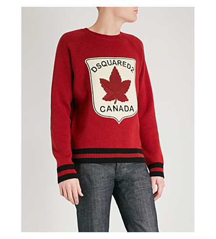 DSQUARED2 Maple leaf-patch wool jumper (Red+black+stripe