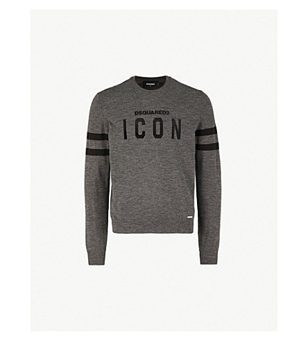 DSQUARED2 Icon-appliquéd wool-blend jumper (Grey