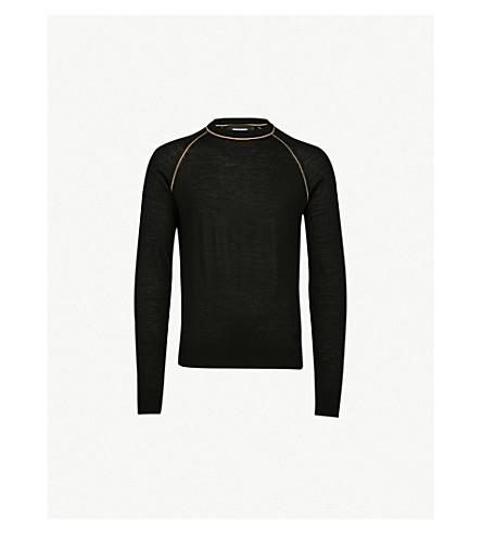 DSQUARED2 金属缝合羊毛混纺毛衣 (黑色