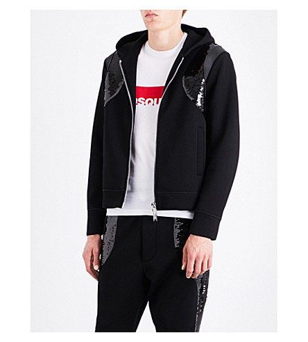 DSQUARED2 Sequin-embellished jersey hoody (Black
