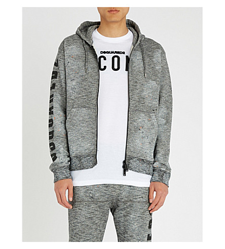 DSQUARED2 Marled 平纹针织棉帽衫 (暗 + 灰色