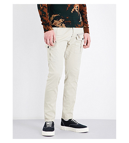 DSQUARED2 Tapered relaxed-fit mid-rise cotton-twill cargo pants (Stone