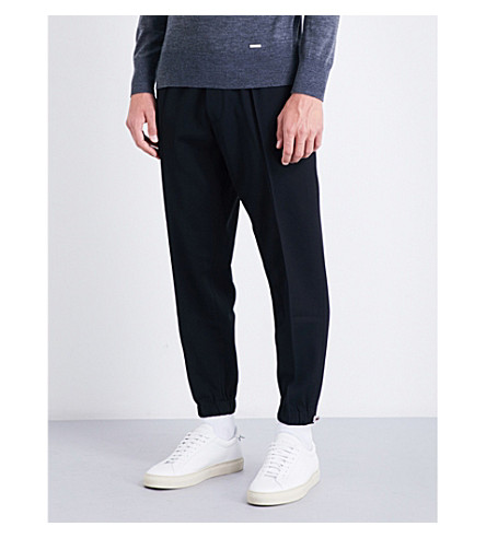 DSQUARED2 Tapered wool-blend track pants (Black