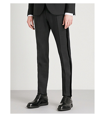 DSQUARED2 Slim-fit wool and silk-blend tux trousers (Black