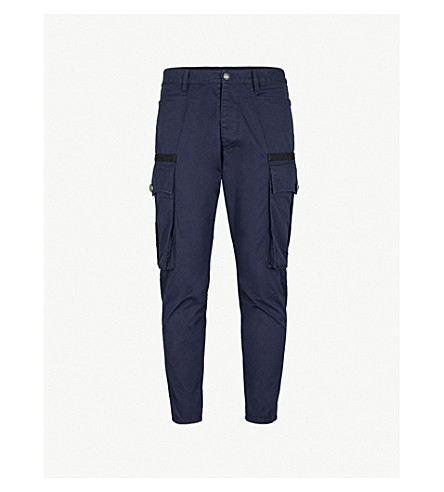 DSQUARED2 Tapered cotton-drill cargo trousers (Dark+blue