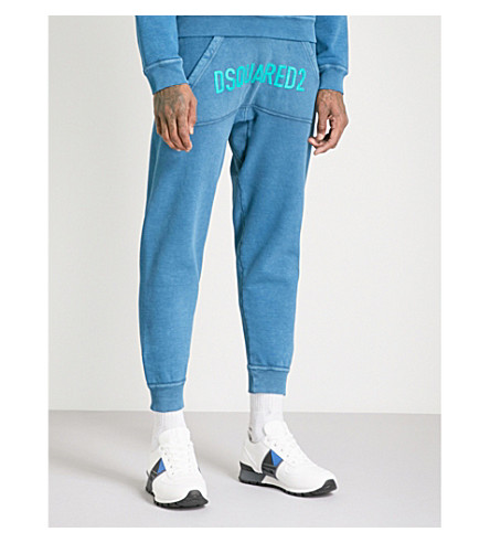 DSQUARED2 Logo-print cotton-jersey jogging bottoms (Petrol