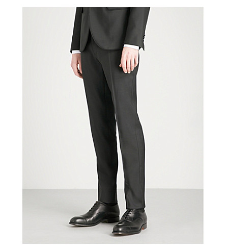 DSQUARED2 Regular-fit tapered wool-blend tuxedo trousers (Black