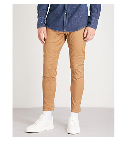 DSQUARED2 Asymmetric stretch-twill skinny biker jeans (Camel