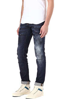 D SQUARED Paint-splatter slim-fit straight jeans