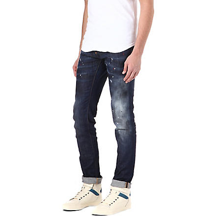 D SQUARED Paint-splatter slim-fit straight jeans (Blue