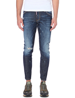 D SQUARED Distressed paint-splattered cotton-blend jeans
