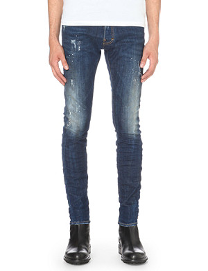 D SQUARED Cool guy paint-splattered slim-fit skinny jeans