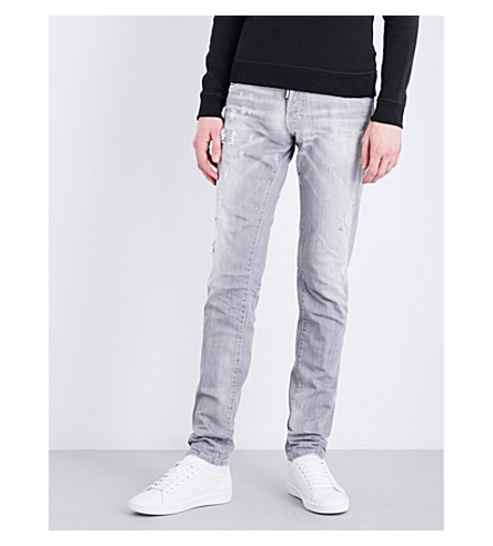 DSQUARED2 Distressed slim-fit low-rise jeans (Grey