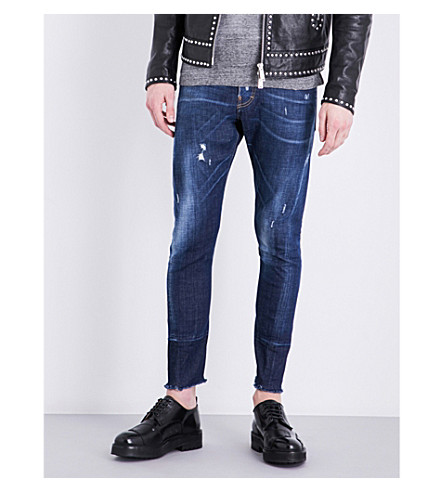 DSQUARED2 Sexy Twist frayed-hem slim-fit skinny jeans (Blue