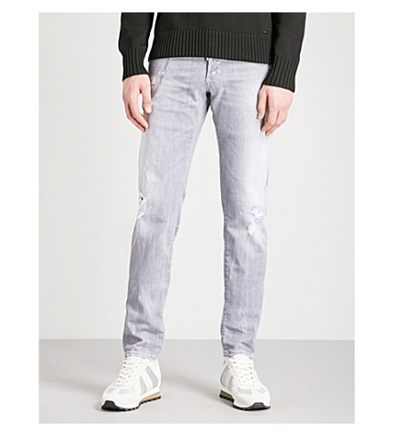 DSQUARED2 Distressed slim-fit skinny jeans (Light+grey