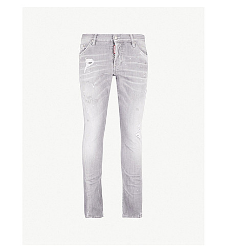DSQUARED2 Distressed slim-fit skinny jeans (Grey