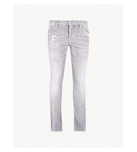 DSQUARED2 仿旧修身版型紧身牛仔裤 (灰色