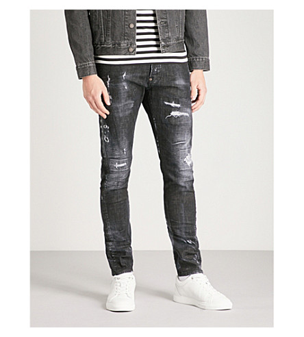 DSQUARED2 Kenny slim-fit distressed skinny jeans (Black