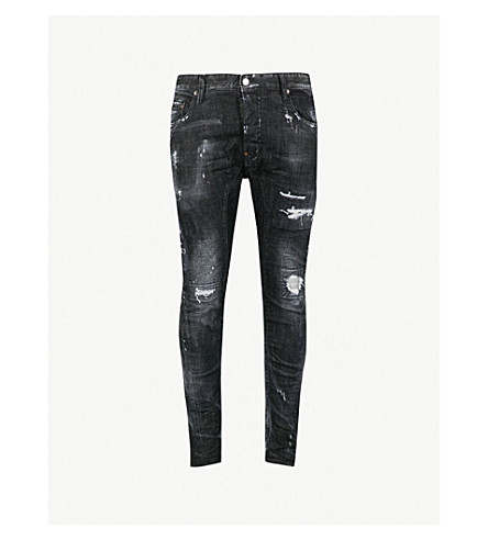 DSQUARED2 Tidy distressed slim-fit skinny jeans (Black