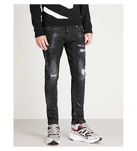 DSQUARED2 整洁仿旧修身版型紧身牛仔裤 (黑色