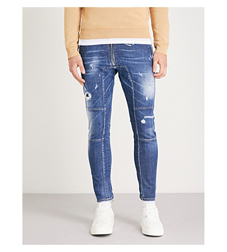 DSQUARED2 Distressed stretch-denim skinny biker jeans (Blue