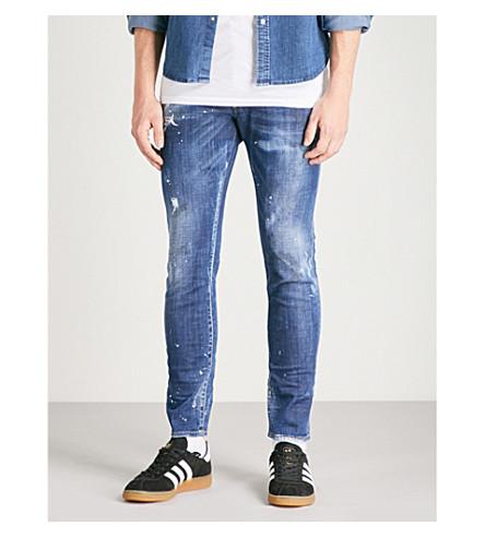 DSQUARED2溜冰瘦身紧身牛仔裤 (蓝色