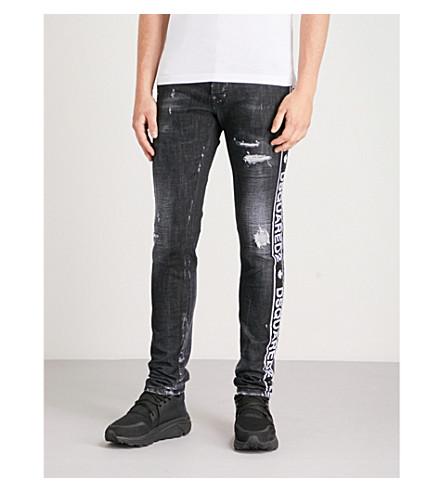 DSQUARED2 Cool Guy tape-panel stretch-denim skinny jeans (Black