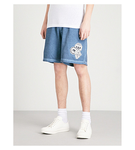 DSQUARED2 Appliquéd cotton-jersey shorts (Petrol
