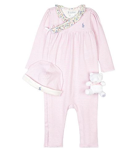 RALPH LAUREN Striped cotton baby grow gift set 3-9 months (Caramel+pink