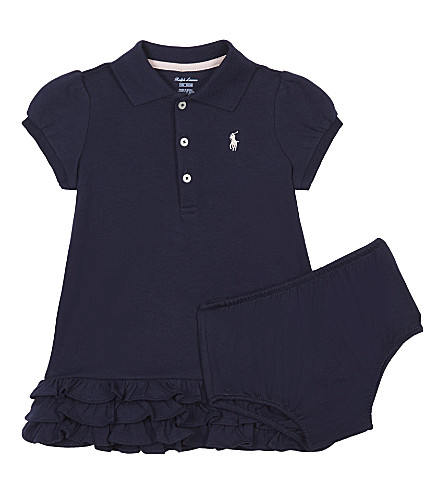 RALPH LAUREN Pony cotton cupcake dress 3-24 months (French+navy
