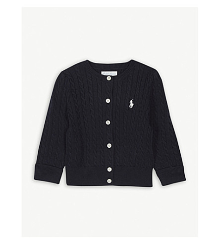 RALPH LAUREN Cable knit cardigan 3-24 months (Hunter+navy