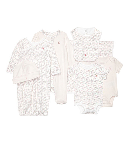 RALPH LAUREN Seven-piece baby clothes gift set 3-9 months (Delicate+pink