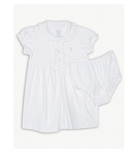 RALPH LAUREN Logo cotton dress and knickers set 3-24 months (White
