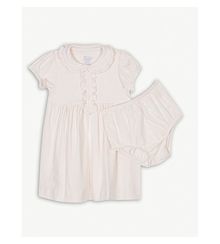 RALPH LAUREN Embroidered logo cotton dress and under shorts 3-24 months (Delicate+pink