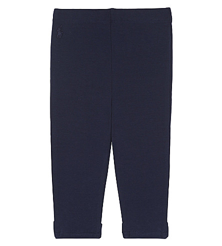 RALPH LAUREN Bow detail cotton leggings 3-24 months (French+navy