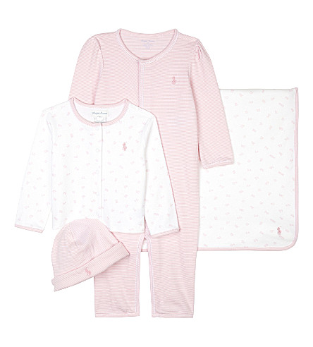 RALPH LAUREN Cotton four piece gift set 3-9 months (Fresh+pink/whit