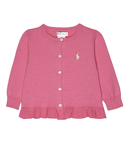 RALPH LAUREN Peplum cotton cardigan 3-24 months (Baja pink