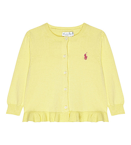 RALPH LAUREN Peplum cotton cardigan 3-24 months (Maize