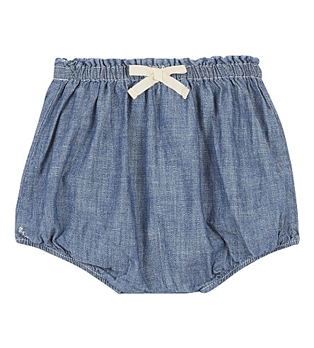 RALPH LAUREN Bow chambray cotton bloomers 3-24 months (Quincy+wash