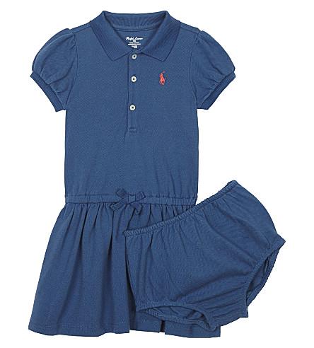 RALPH LAUREN Logo cotton polo dress & underwear 3-24 months (Indigo+blue