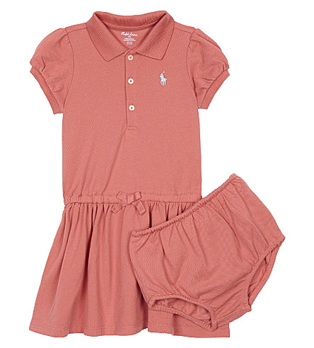 RALPH LAUREN Logo cotton polo dress & underwear 3-24 months (Salmon+berry
