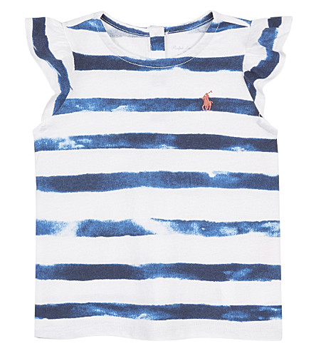 RALPH LAUREN Striped cotton top 3-24 months (Indigo+blue/whi